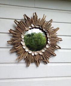 Driftwood Sunburst Seashell Mirror/Driftwood ~by My Honeypickles
