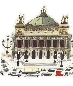 mid century illustration of PARIS Opera House by theStoryOfVintage on Etsy Opera Garnier Paris, Paris Opera House, Travel Illustration, Children's Book Illustration, Paris Vintage, Interesting Drawings, Paris 3, Little Paris, La Rive