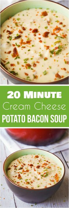 Cream Cheese Potato Bacon Soup is an easy winter comfort food recipe. This easy potato soup starts with a garlic instant mashed potato base and is loaded with bacon and cream cheese.