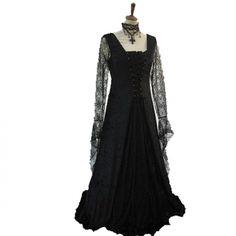 *Producto disponible bajo encargo.Vestido medieval de terciopelo negro,mangas de encaje de telaraña,inserto frontal en otro color,lazadas negras. http://www.d-gotico.com/vestidos-de-novia/265-vestido-medieval-terciopelo-y-mangas-de-telarana.html