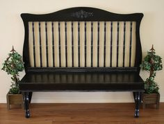 Turn and old crib into a bench