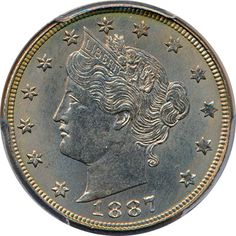 Harry Laibstain Rare Coins, has this item on Collectors Corner - 1887 5C MS63 PCGS. We love coins at Renaissance Fine Jewelry in Vermont or at www.vermontjewel.com. Contact us at sales@vermontjewel.com. Please support and be a member of the American Numismatic Association.