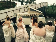 How many brides can you fit in a VW Camper. Devon wedding show.