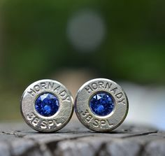Bullet Earrings stud or post steampunk, nickel silver Hornady .38 special with Swarovski September sapphire birthstone crystals