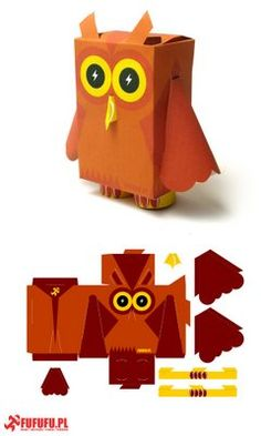 Easy DIY craft tutorial ideas for free printable paper toys. Paper toys are fun to make and fun to play with. Paper Owls, Paper Animals, Art Jouet, 3d Templates, Paper Engineering, 3d Paper Crafts, Foam Crafts, Handmade Home, Handmade Dolls