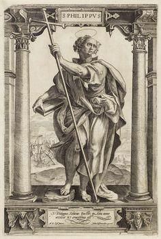 Hieronymus Wierix | H. Filippus, Hieronymus Wierix, Jan Ditmaer, Anonymous, 1580 - 1613 | De heilige Filippus staat, met zijn ene voet op een steen, tussen twee zuilen in een architecturale omlijsting. In zijn ene hand houdt hij een boek, in zijn andere hand een kruisstaf. Op de achtergrond diens kruisiging aan een t-vormig kruis. In het kader onderaan een tweeregelig onderschrift in het Latijn.