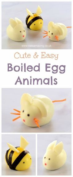 How to make cute boiled egg animals - fun food tutorial from Eats Amazing UK - perfect for the kids this Easter - egg rabbit egg mouse and egg bee    #Easter #easterfood #eggs #eastereggs #funfood #kidsfood #foodforkids #foodart #ediblert #healthykids #cutefood #bento #easterbunny #breakfast