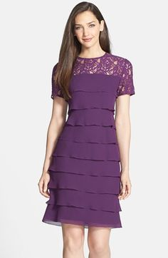 Free shipping and returns on Alex Evenings Lace Yoke Tiered Georgette Dress (Regular & Petite) at Nordstrom.com. A sheer lace yoke tempers the fluttering tiered construction of this romantic georgette cocktail dress saturated in a gorgeous color.