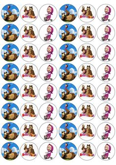 Masha & The Bear Edible Rice/Wafer Paper Cupcake/Fairy Cake Toppers* Bear Birthday, 2nd Birthday Parties, Masha Et Mishka, Marsha And The Bear, Paper Cupcake, Wafer Paper, Bear Theme, Bear Party, Bottle Cap Images