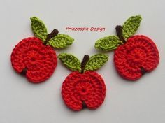 Crochet apple applique free pattern