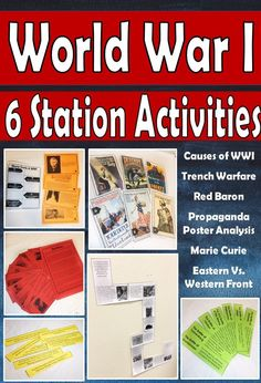 World War I: Station Activities (LOW PREP) Perfect for middle school! These low prep stations are great for a study of the Great War. These stations cover causes of WWI, Trench warfare, propaganda, and more! World History Lessons, Teaching History, History Class, Women's History, Ancient History, History Magazine, Social Studies Resources, Teaching Resources, World War One