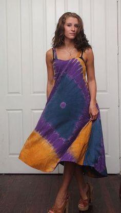 vintage HIPPIE tie-dye GRUNGE REVIVAL boho RENAISSANCE sundress dress - Check it out on eBay