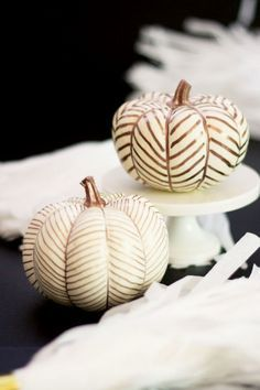 Is there anything more country-chic than these copper herringbone pumpkins?