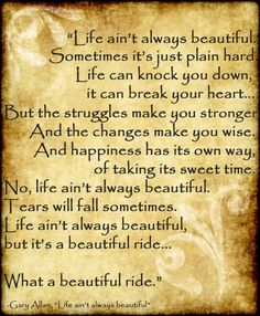 """Life ain't always beautiful, but what a beautiful ride :) love this song! if I ever get a tattoo, still thinking about getting one, and this lyric is one I might choose or an Elvis quote """"do something worth remembering"""" with a small flower or butterfly... but either one of these is fitting for me :)"""