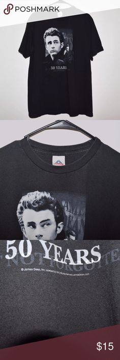 Rare James Dean 2005 50 Years Graphic Tee Item name: Rare James Dean 2005 50 Years Graphic Tee Color: Black Condition: This is a pre-owned item. It is in excellent condition with no stains, holes, rips, etc. Comes from a smoke free household. Size: Men's Large Measurements: Pit to Pit - 21.5 inches Neckline to bottom - 29 inches Shirts Tees - Short Sleeve