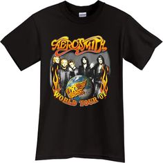 Heavy Metal Band T-Shirts | AEROSMITH Heavy Metal Rock Band Black Tshirt |