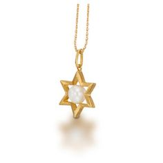 Megemeria by Yvel  24k Gold Plated Brass Star of David with Fresh Water Pearl Necklace