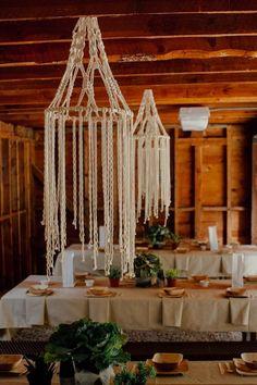 rustic macrame wedding chandeliers / http://www.deerpearlflowers.com/boho-macrame-knotted-wedding-decor-ideas/