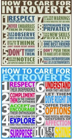 Introverts-v-Extroverts....good advice for interacting with my residents!