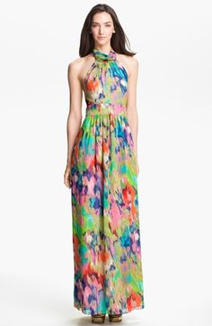 Free shipping and returns on Eliza J Halter Print Chiffon Maxi Dress (Petite) at Nordstrom.com. An impressionistic floral pattern splashes a high-neck chiffon halter dress with vivid color. Soft gathers from the neck shape the bodice and cascade from the waist into a weightless finish.