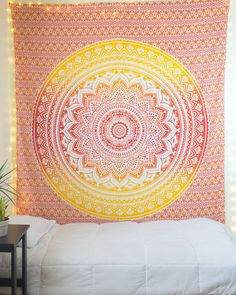 """Orange & Yellow Ombre Tapestry  from thebohemianshop.com - Save 15% OFF your order using coupon code """"SAVE15"""""""