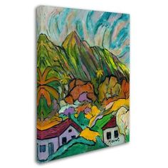 "Trademark Art ""Maui Peaks"" by Manor Shadian Painting Print on Wrapped Canvas Size: 19"" H x 14"" W x 2"" D"