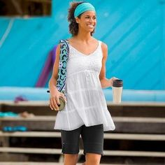 Athleta White Coventina Crocheted Babydoll Tunic Top Shirt M