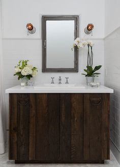here's those caged lights used on the wall flush around mirror - that was my original thought            Master Bath Remodel - farmhouse - Bathroom - Los Angeles - FOUR POINT Design+Construction Inc.