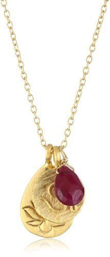 """Satya Jewelry """"The Roots of Passion"""" 24K Yellow Gold Pendant Necklace Satya Jewelry. $78.40. Made in United States. Gemstones are natural, there will be minor variances in color and size. This necklace includes a lotus blossom, stretching its petals to the heavens, a calm-inspiring Om, along with a ruby stone."""