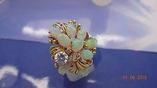 Opal Ring 585/14K Gold, Äthiopien Opale, Zirkon, 2 Diamanten; Gr. 55;  8,0 Gr.
