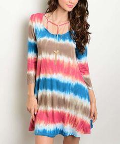 Another great find on #zulily! Teal & Brown Stripe Tie-Dye Shift Dress #zulilyfinds