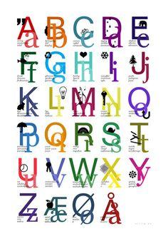Kids alfabetet poster from http://sirlig.dk/collections/plakater-postkort/products/plakat-alfabetet