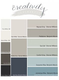 from the 2014 Reader favorite paint color poll on the The Creativity Exchange. All fantastic colors.Results from the 2014 Reader favorite paint color poll on the The Creativity Exchange. All fantastic colors. Eider White Sherwin Williams, Sea Salt Sherwin Williams, Peppercorn Sherwin Williams, Sherman Williams Sea Salt, Sherman Williams Gray, Iron Ore Sherwin Williams, Paint Schemes, Colour Schemes, House Color Schemes