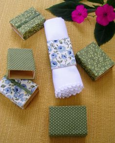 Napkin rings made from recycled matches box.
