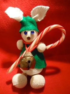 Christmas candy cane rabbit rice sock craft