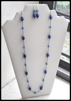Blue Paper Bead Necklace Set Navy Blue by FeithHodgeCreations