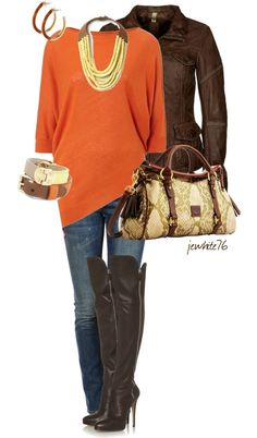 """""""D Sass"""" by jewhite76 on Polyvore  Orange tunic is adorable with the gold.I love jeans any colors..."""