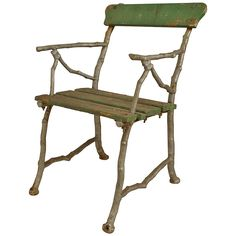 3 Outdoor English Painted Iron Faux Twig Armchairs   From a unique collection of antique and modern armchairs at https://www.1stdibs.com/furniture/seating/armchairs/