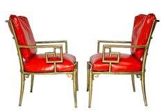 Vintage brass and red leather asian-style lounge chairs 1950