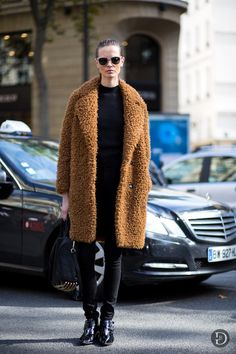 Model-Off-Duty: Mina Cvetkovic | Furry Camel Coat