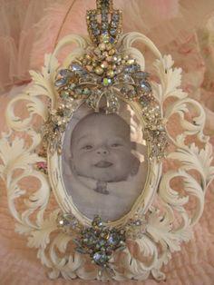 Vintage Blue Jeweled Frame
