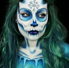 Ice queen skull makeup frostbitten look