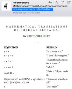 McSweeneys: Mathematical Translations of Popular Refrains