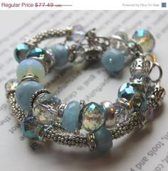 Design your own photo charms compatible with your pandora bracelets. ON SALE chunky charm bracelet, aquamarine bracelet, chunky bracelet, multi strand bracelet, wedding charm bracelet Wire Jewelry, Beaded Jewelry, Jewelry Bracelets, Handmade Jewelry, Pandora Bracelets, Bangles, Necklaces, Jewellery, Aquamarine Bracelet