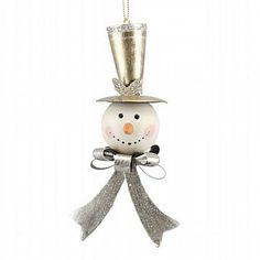Silver Christmas Snowman Hanging Decoration
