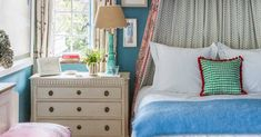 Colour and pattern galore in the florist's Cotswold farmhouse Fashion Project, Dresser As Nightstand, British Style, Cottage, Colours, Living Room, Pattern, Bedrooms, Farmhouse