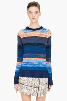 Love this PROENZA SCHOULER blue striped knit Pullover - would wear it with a black skirt and tights for now and cutoff shorts as it warms up.