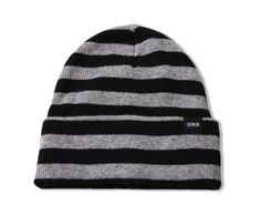 Watch Cap Stripe Beanie Acrylic Jersey Knit - Black Grey Marl. Edwin Europe fe256f2a3cd7