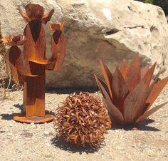 Southwestern Set,metal yard art,garden art,metal cactus,sculpture,cactus sculpture,southwestern decor,rustic decor,home and garden decor,art by TopangaPatina on Etsy