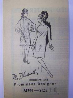 VTG 1960s Prominent Designer M391 MR. BLACKWELL Go-Go Dress Mail Order pattern sz 14 bust 36 Unused by RaggsPatternStash on Etsy